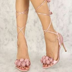 fc5030303b481 Shoes | Floral Lace Up Heel Strappy Ballerina Pink Satin | Poshmark